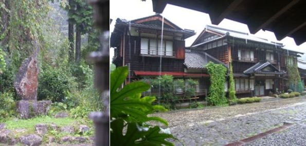Shimazaki Tōson commemorative stone and Shinchaya Inn in the rain