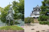 Statue of Ii Naomasa outside Hikone Station, Hikone Castle