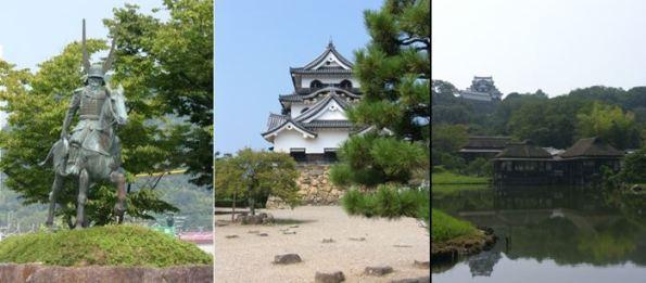 Statue of Ii Naomasa outside Hikone Station, Hikone Castle and its formal gardens