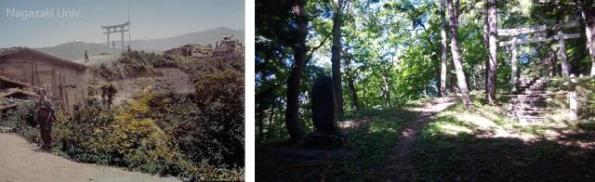 The comparison between the site of the Torii Pass during the Bakamatsu-Meiji periods and now is quite startling. The 1st (the older one) is approaching the pass and the second is after the pass.  (early photo: Japanese Old Photographs in Bakamutsu-Meiji Period, Nagasaki University)
