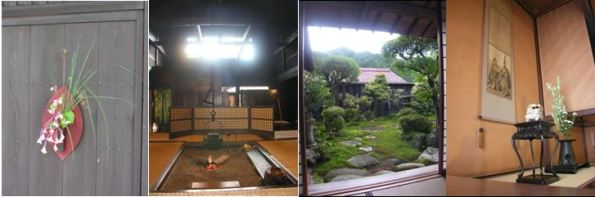 Tsumago town floral display, Okuya wakai Honjin's irori sunken hearth, garden and tokonoma dedicated to the visit of the Meiji Emperor