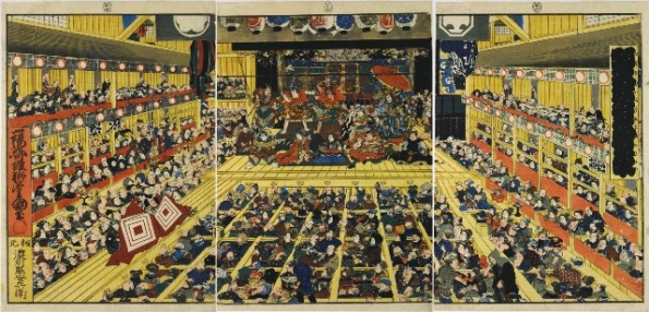 Print 1. The Dance Forms of Flourishing Edo Pictures, 1858, by Kunisada, showing the interior of the Ichimuraza Theatre where a July 1858 performance of the Kabuki play 'Wait a Minute!' (Shibaraku) is in progress.