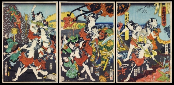 Exhibition print 53. A Tour of Hell by the Water Margin Heroes, 1864, By Kunichika