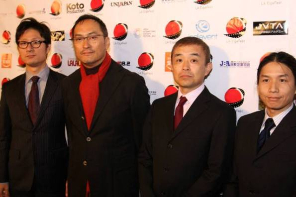Second from the left is Ken Watanabe who attended LA EigaFest 2013 as a main guest for the US premiere of his film UNFORGIVEN. On the far right is Hayato Mitsuishi, the president of Japan Film Society.