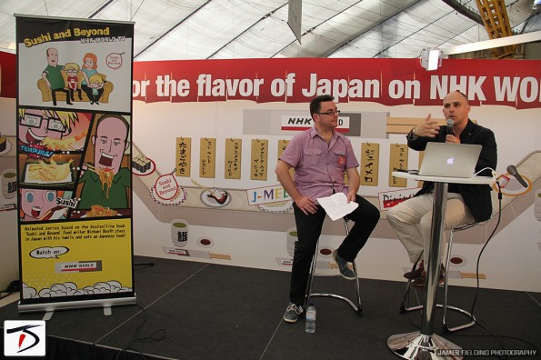 Author Michael Booth being interviewed by Diverse Japan editor-in-chief, Spencer Lloyd Peet