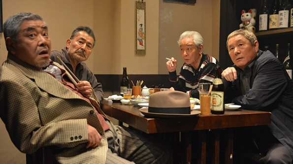 Left to right – Akira Nakao as Mokichi, Tatsuya Fuji as Ryūzō, Masaomi Kondō as Masa, Beat Takeshi as Police Detective Murakami