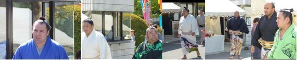 The arrival of the senior ranking Rikishi at the south gate – September 20th 2015 – including Ōsuna-arashi, the Great Sandstorm, the only African Sumo originally from Egypt in the kimono with the ancient Egyptian design