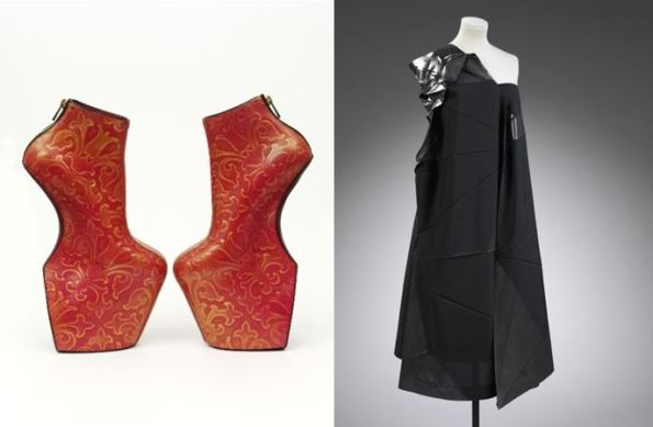 Heelless shoes by Norihaka Torehana, 2014 © Victoria and Albert Museum, London. Dress by Issey Miyake (b. 1938), from '132 5.' collection © Victoria and Albert Museum, London.