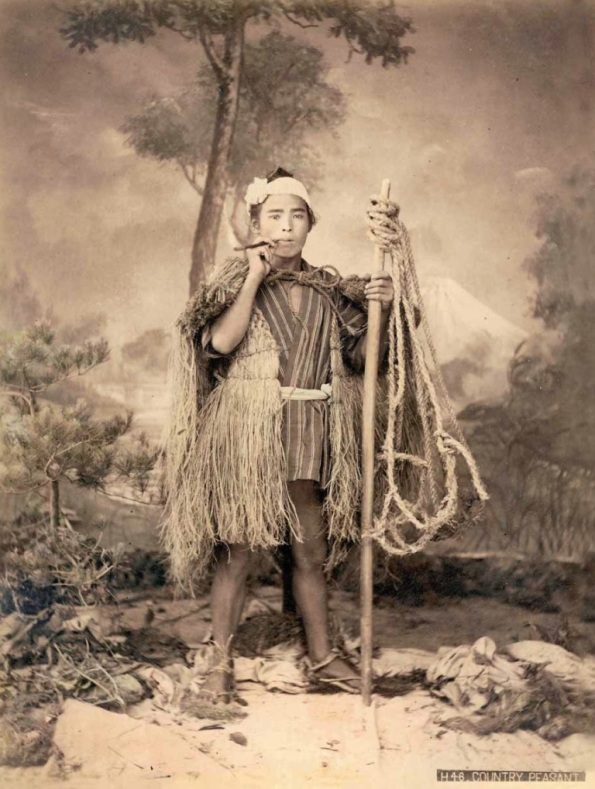 "Kajima Seibei, ""H46. Country Peasant,"" ca. 1890s,  large-format hand-coloured albumen print. Author's Collection."