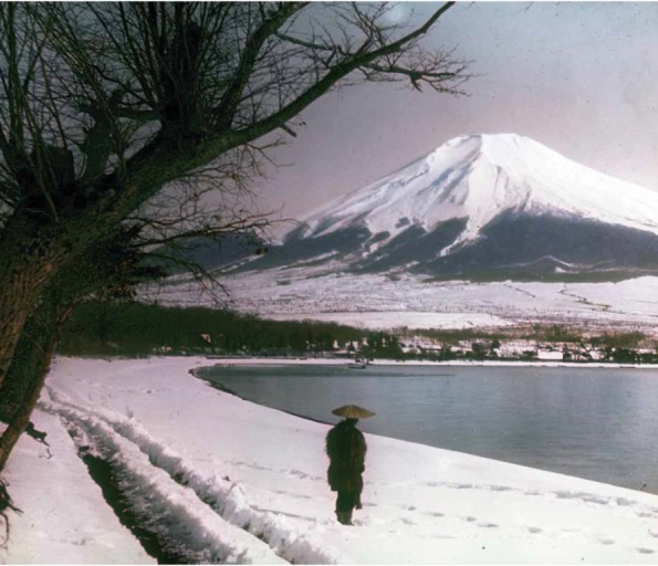 "Elias Burton Homes, ""Mount Fuji,"" ca. 1890s,  hand-coloured glass lantern slide. The Burton Homes Collection."