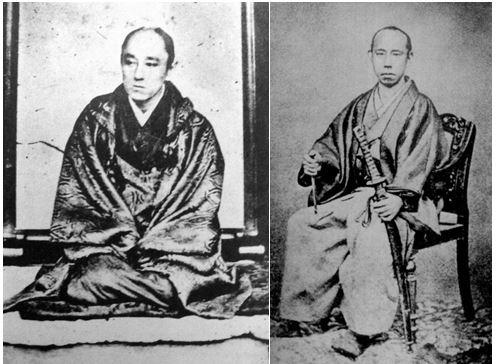 Yamauchi Yōdō, Daimyō of Tosa Domain (left) and Matsudaira Shungaku, Daimyō of Fukui Domain (right)