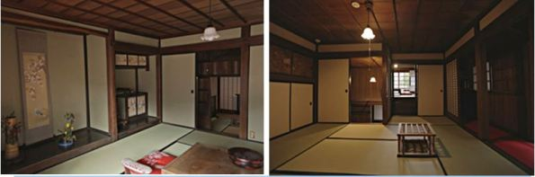 "(left) Isabella Bird's room and (right) her servant Itō Tsurukichi's room at the ""Kanaya Cottage Inn"""