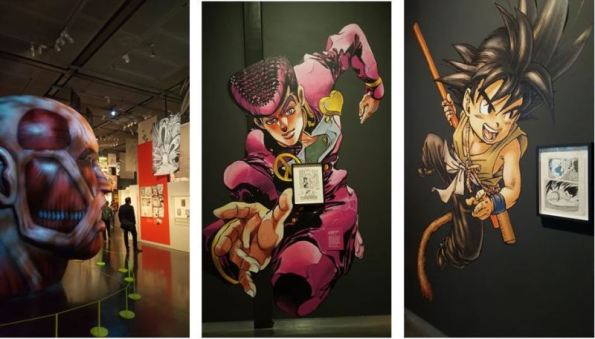Characters from three manga which have been adapted to film (from left to right) Attack on Titan, Jojo's Bizarre Adventure, and Dragon Ball – Citi Exhibition 'Manga'