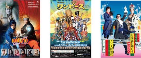 Posters for Kabuki adaptations of Manga 'Naruto', (Super Kabuki II) 'One Piece', and 'Tsukiakari Mezasu Furusato' © Shochiku